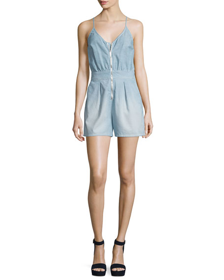 7 For All Mankind Sleeveless Zip-Front Romper, Stretch