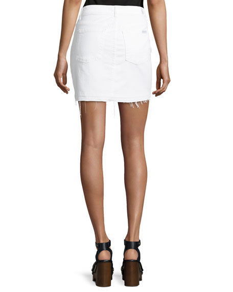 7 for all mankind utility button front denim skirt