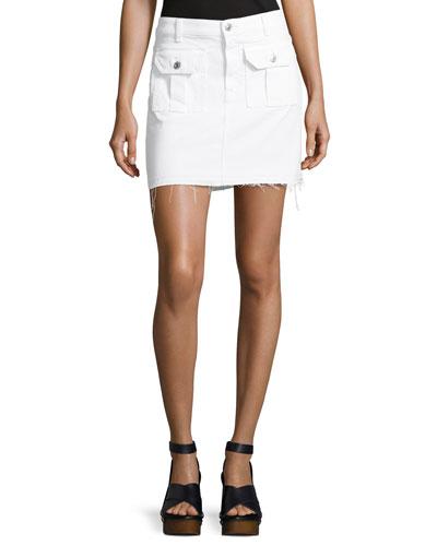 Utility Button-Front Long Denim Skirt, White