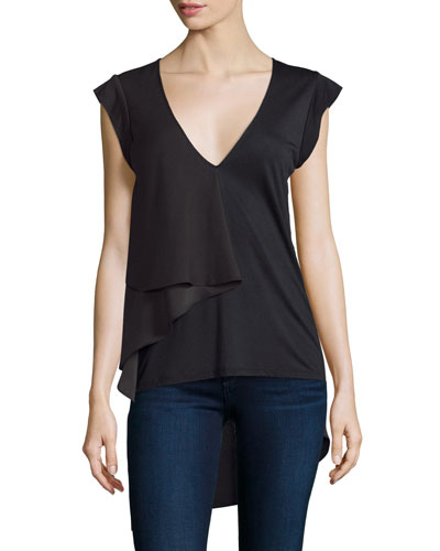 Cap-Sleeve V-Neck Draped Top, Black