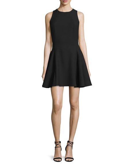 Halston Heritage Sleeveless Fit-&-Flare Mini Dress, Black