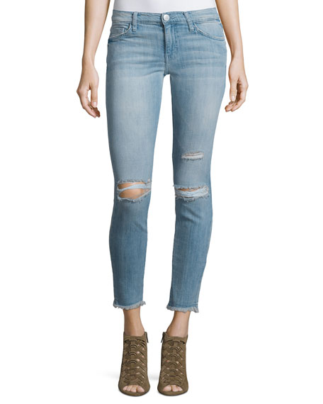 Current/Elliott The Stiletto Distressed Skinny Ankle Jeans,