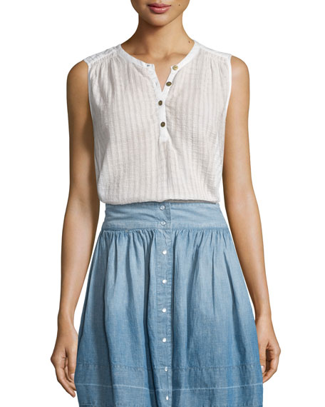 Current/Elliott The Camila Sleeveless Henley Top, Dirty White
