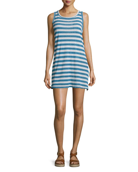 Current/Elliott The Muscle Tee Striped Tank Dress, Blue