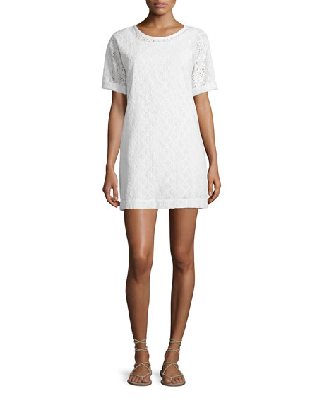 Current/Elliott The Eyelet Cotton T-Shirt Dress, Dirty White