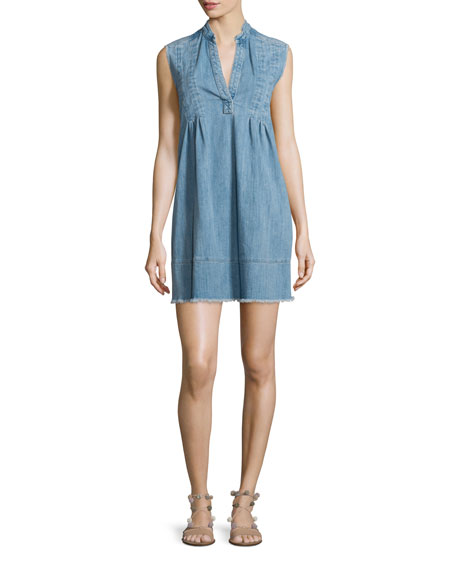 Current/Elliott The Sleeveless Tuck-Pleated Denim Dress, Mid-Day
