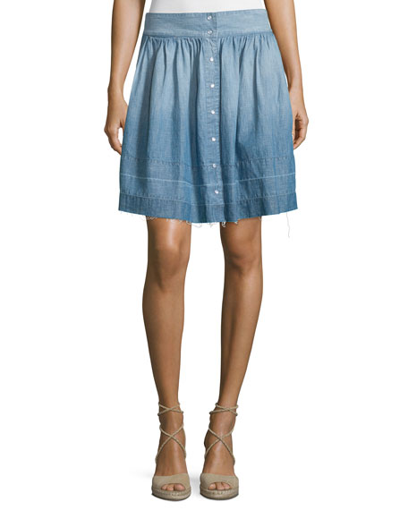 Current/Elliott The Flirt Snap-Front Chambray Skirt, Lucky Horse