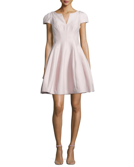 Halston Heritage Tulip-Skirt Split-Neck Dress, Barely Pink