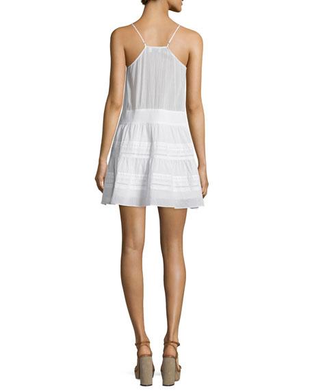 Lace Pointelle-Trim Tank Dress, Blanc
