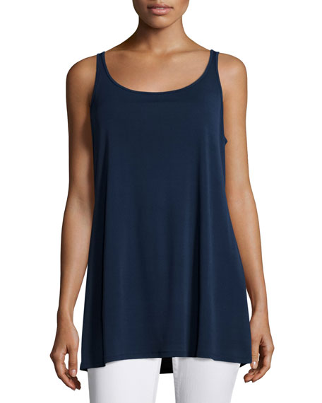 Eileen Fisher Sleeveless Long Silk Jersey Tank, Midnight, Petite