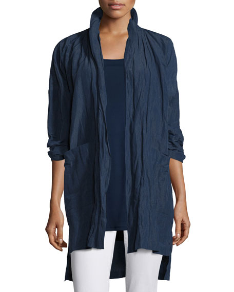 Eileen Fisher Rumpled Kimono Coat, Midnight, Petite