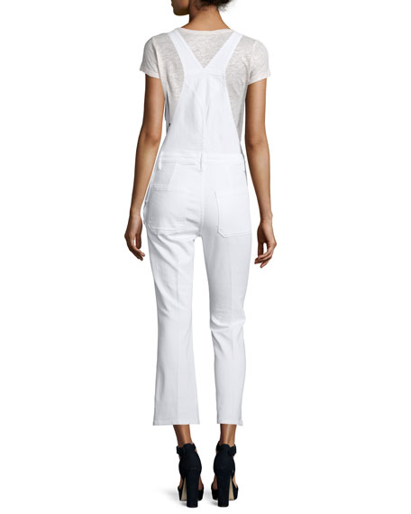 Antibes Cropped Denim Overalls, Blanc