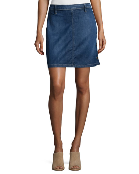 FRAME Antibes Side-Button Denim Straight Skirt, Lucia