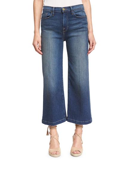 FRAME Le Capri Crop Wide-Leg Jeans, Plum Beach