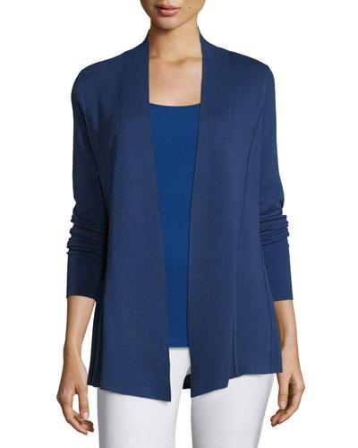 Lightweight Organic Cotton-Blend Cardigan, Sapphire, Women's