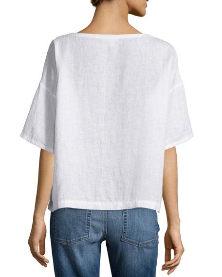 Short-Sleeve Linen Boxy Top, Petite