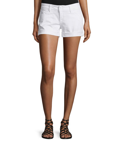 Croxley Rolled-Cuff Denim Shorts, White