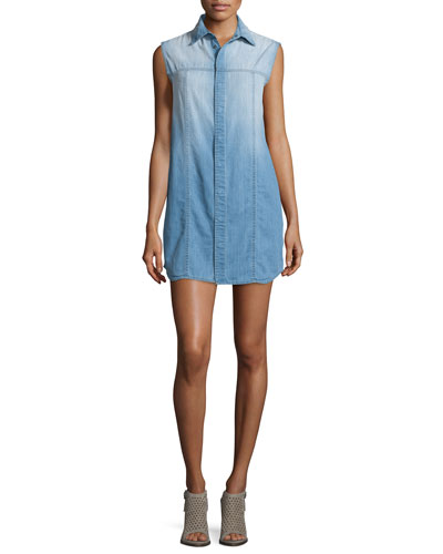 Jules Brooks Sleeveless Shirtdress, Blue