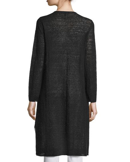 Long Organic Linen Cardigan, Black