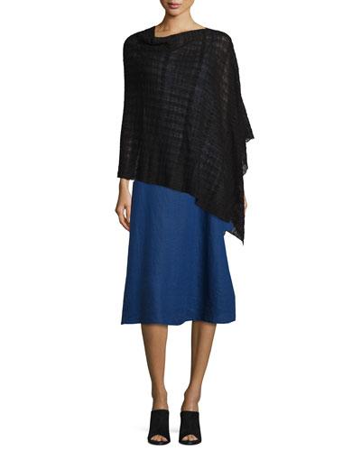 Sheer Hemp-Blend Shadow Plaid Poncho, Black, Women's