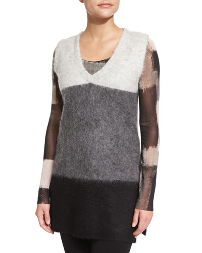 Sleeveless Colorblock Knit Vest, Cream/Gray/Black