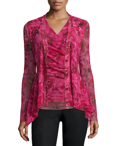 Long-Sleeve Rose-Print Cardigan