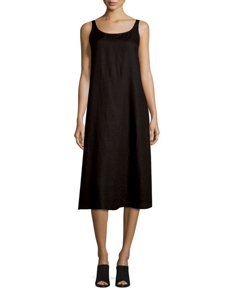 Eileen Fisher Sleeveless Linen Scoop-Neck Tank Dress, Black, Plus Size
