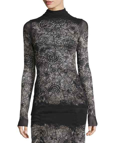 Fuzzi Long-Sleeve Abstract-Print Blouse, Black