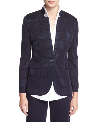 Textured Square One-Button Jacket, Navy