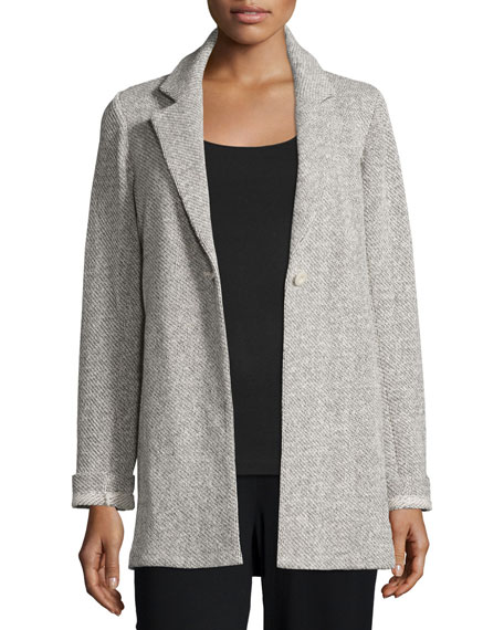Eileen Fisher Twisted Terry Long Jacket, Petite