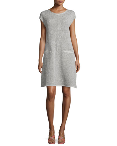 Cap-Sleeve Twisted Terry Dress, Ash, Petite
