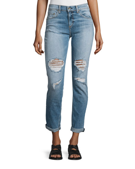 rag & bone/JEAN Dre Distressed Rolled-Cuff Jeans, Carter