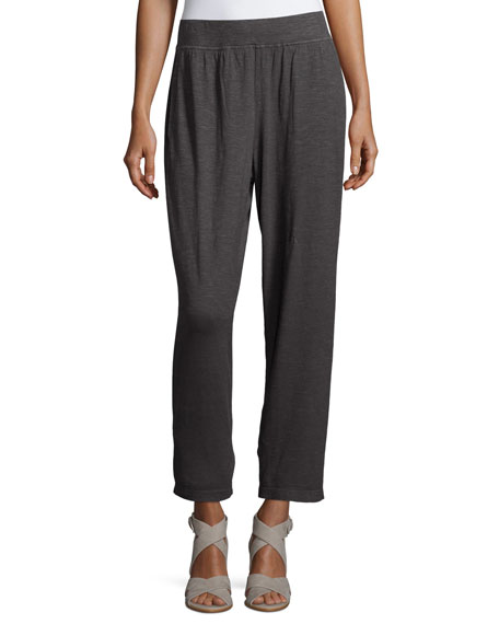 Eileen FisherHemp Twist Tapered Ankle Pants, Bark, Petite