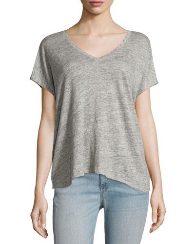 Malibu Linen V-Neck T-Shirt, Heather Gray