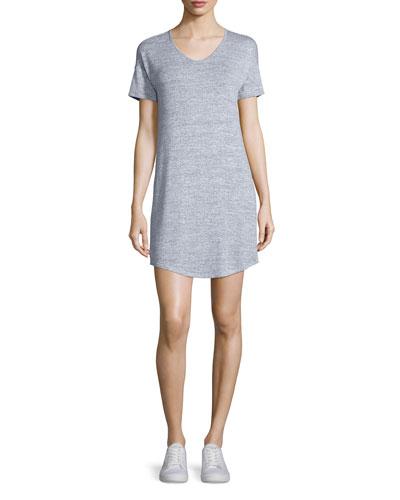 Melrose Short-Sleeve T-Shirt Dress, Light Heather Gray