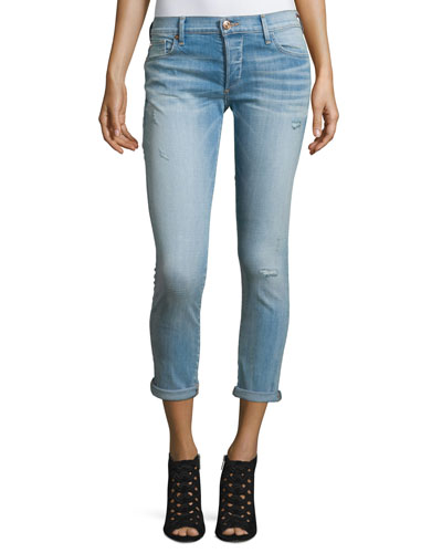 Liv Low-Rise Distressed Ankle Jeans, Sea Glass