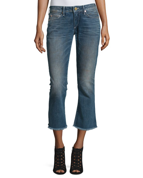 True Religion Karlie Bell-Bottom Cropped Jeans, Blue Z