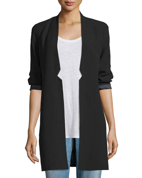 Eileen Fisher Structured Silk Notched-Collar Long Jacket, Black