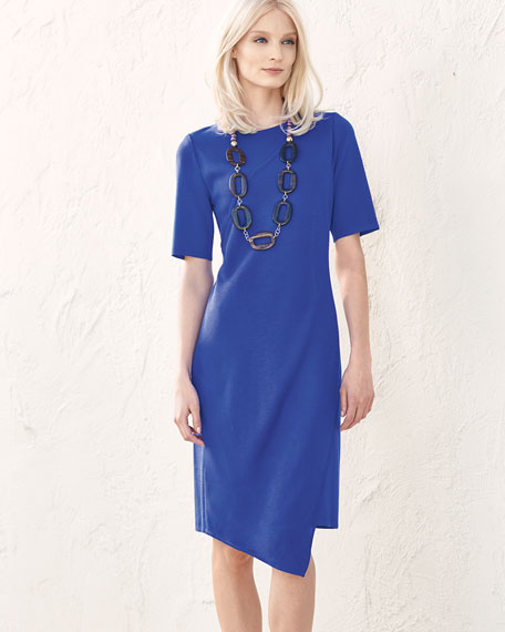 Short-Sleeve Asymmetric Sheath Dress, True Blue, Petite
