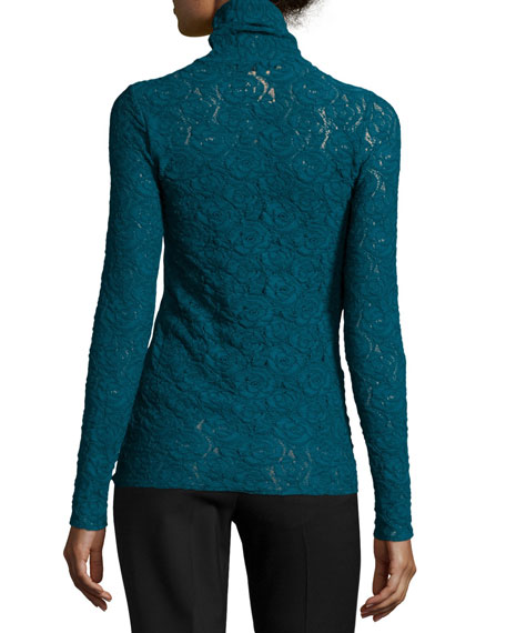 Long-Sleeve Lace Turtleneck Blouse