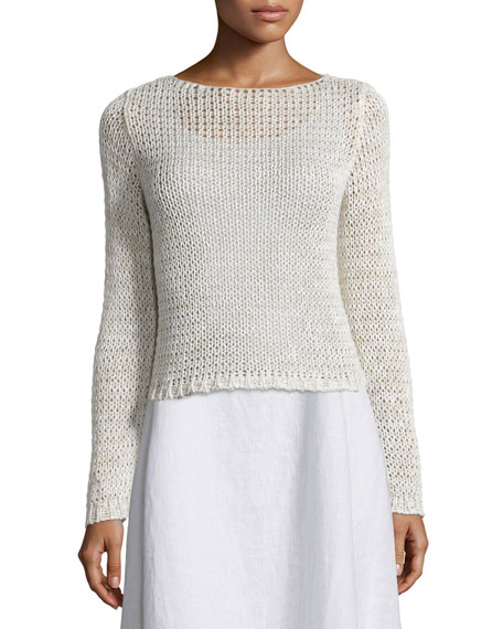 Eileen Fisher Long-Sleeve Crisp Cotton Crop Top, Women's