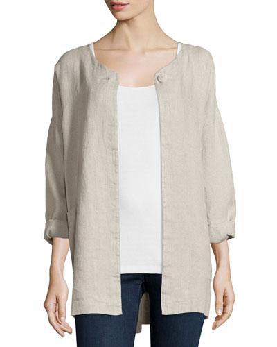 Hopsack Linen Boxy Jacket