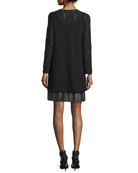 Mixed Media Long-Sleeve Lace Dress, Black