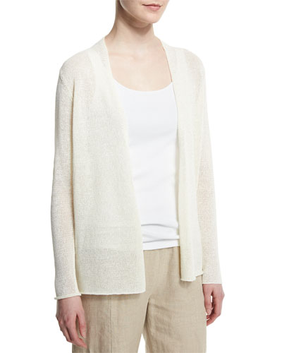 Mini Tape Straight Cardigan, White
