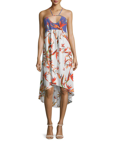 Nicole Miller ArtelierSleeveless Bird of Paradise High-Low Dress
