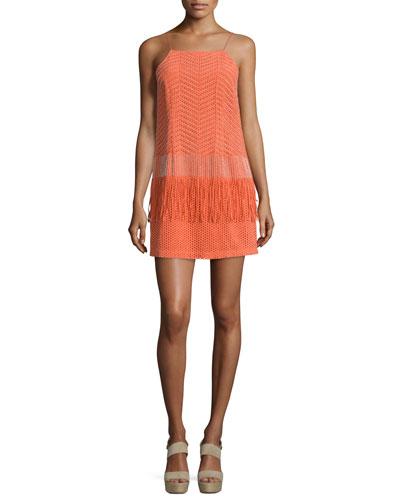 Spaghetti-Strap Embellished Peplum Dress
