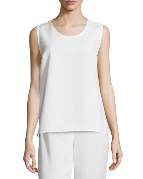Caroline RoseShantung Longer-Cut Tank, White, Petite
