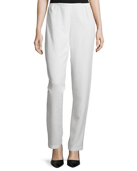 Caroline Rose Shantung Straight-Leg Pants, White, Petite