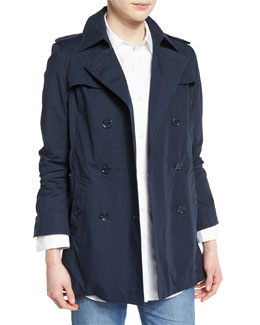 Double-Breasted Relaxed Trench Coat, New Navy