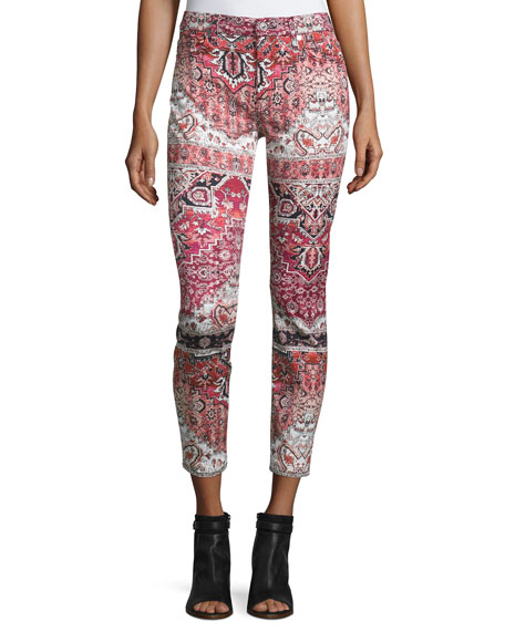 7 For All Mankind The Ankle Printed Skinny Jeans, Olympia Mosaic
